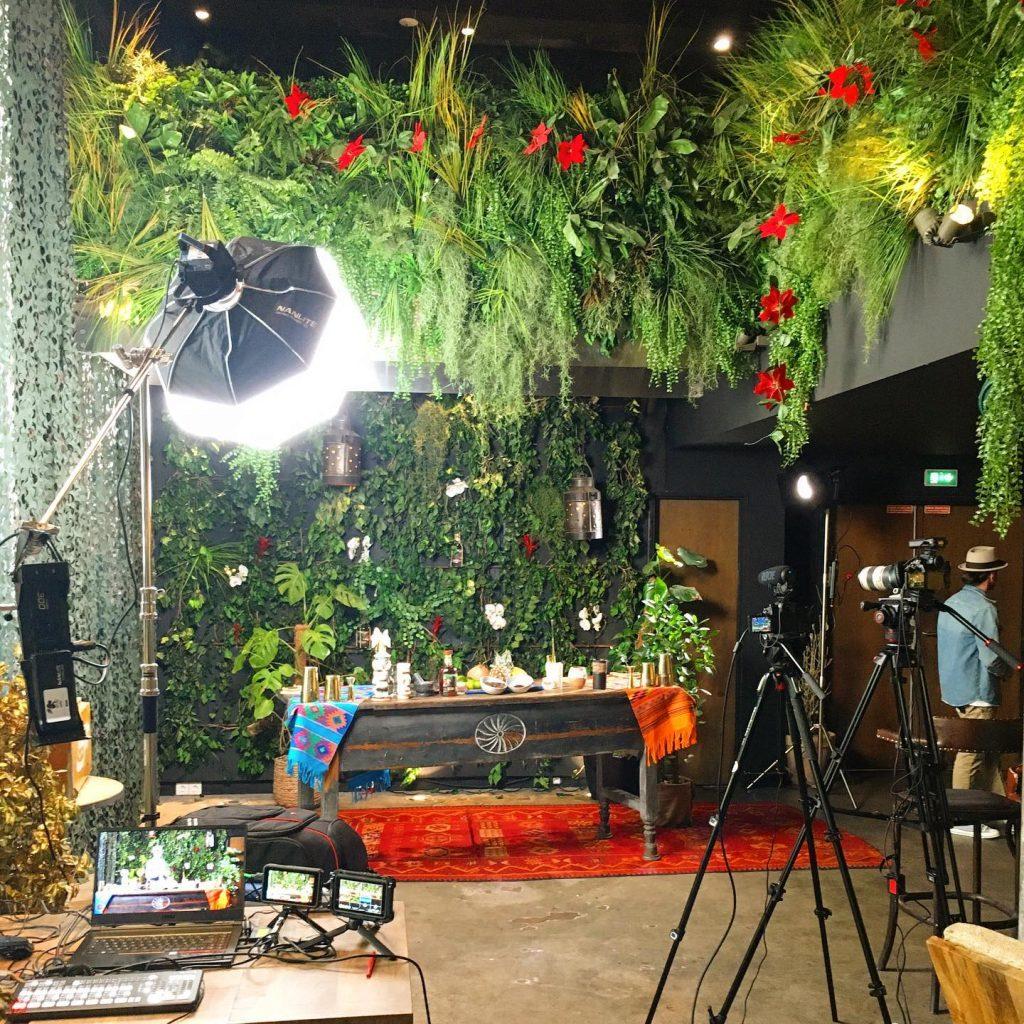 transformation d'un espace en studio de tournage avec décor de jungle.